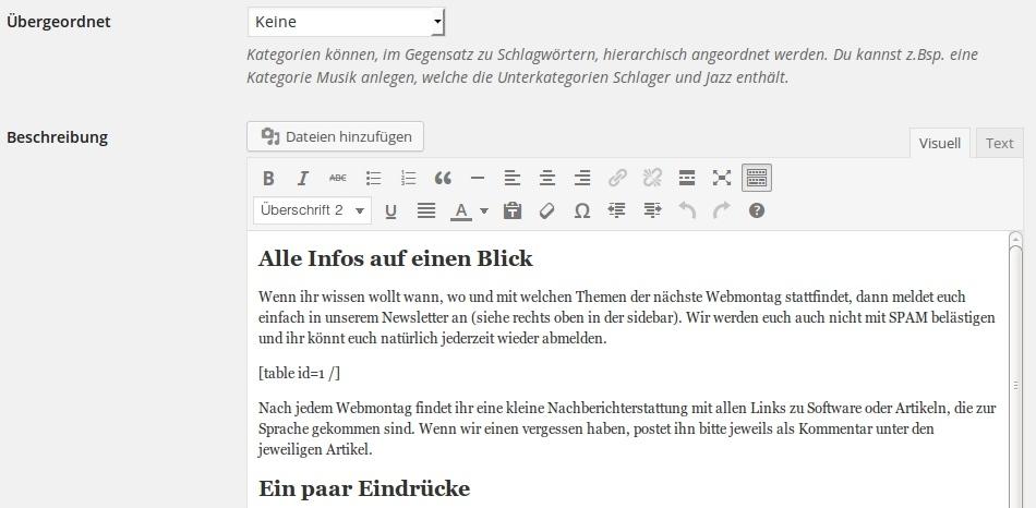 Text in Kategorien bei WordPress